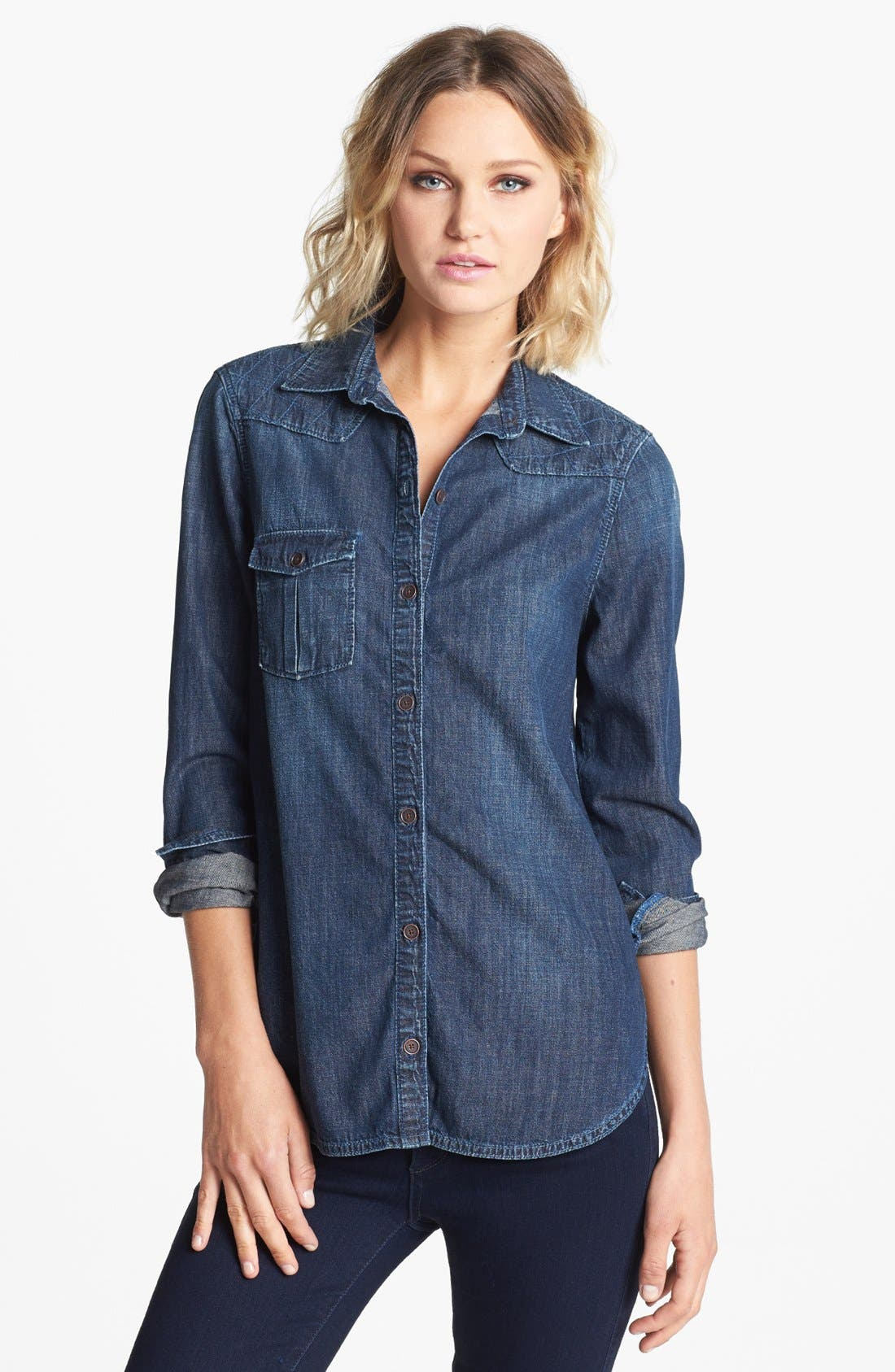 Alternate Image 1 Selected - Paige Denim 'Brooke' Stitched Yoke Denim Shirt
