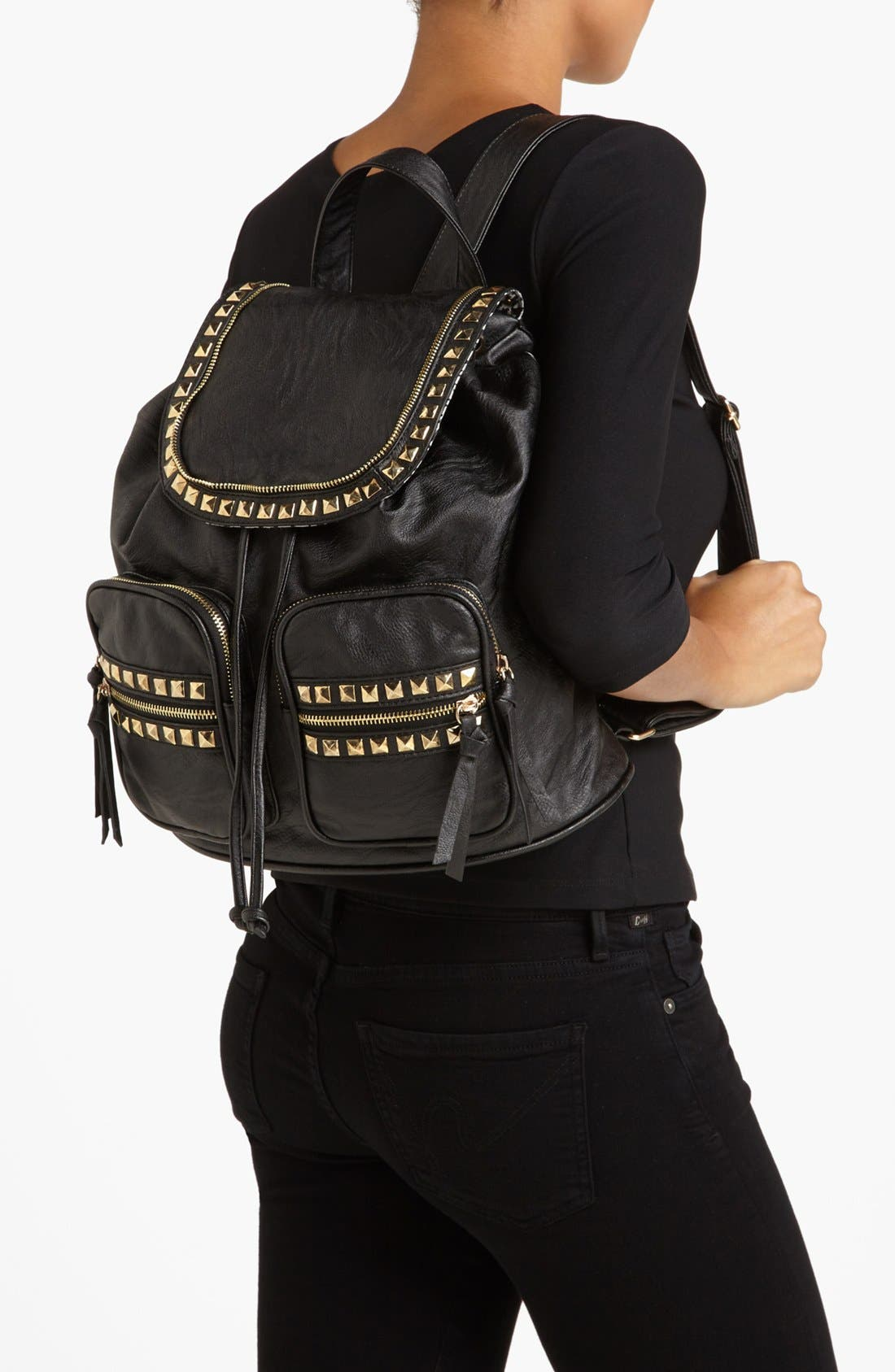 Alternate Image 2  - Cesca 'Study Buddy' Studded Faux Leather Backpack (Juniors) (Online Only)