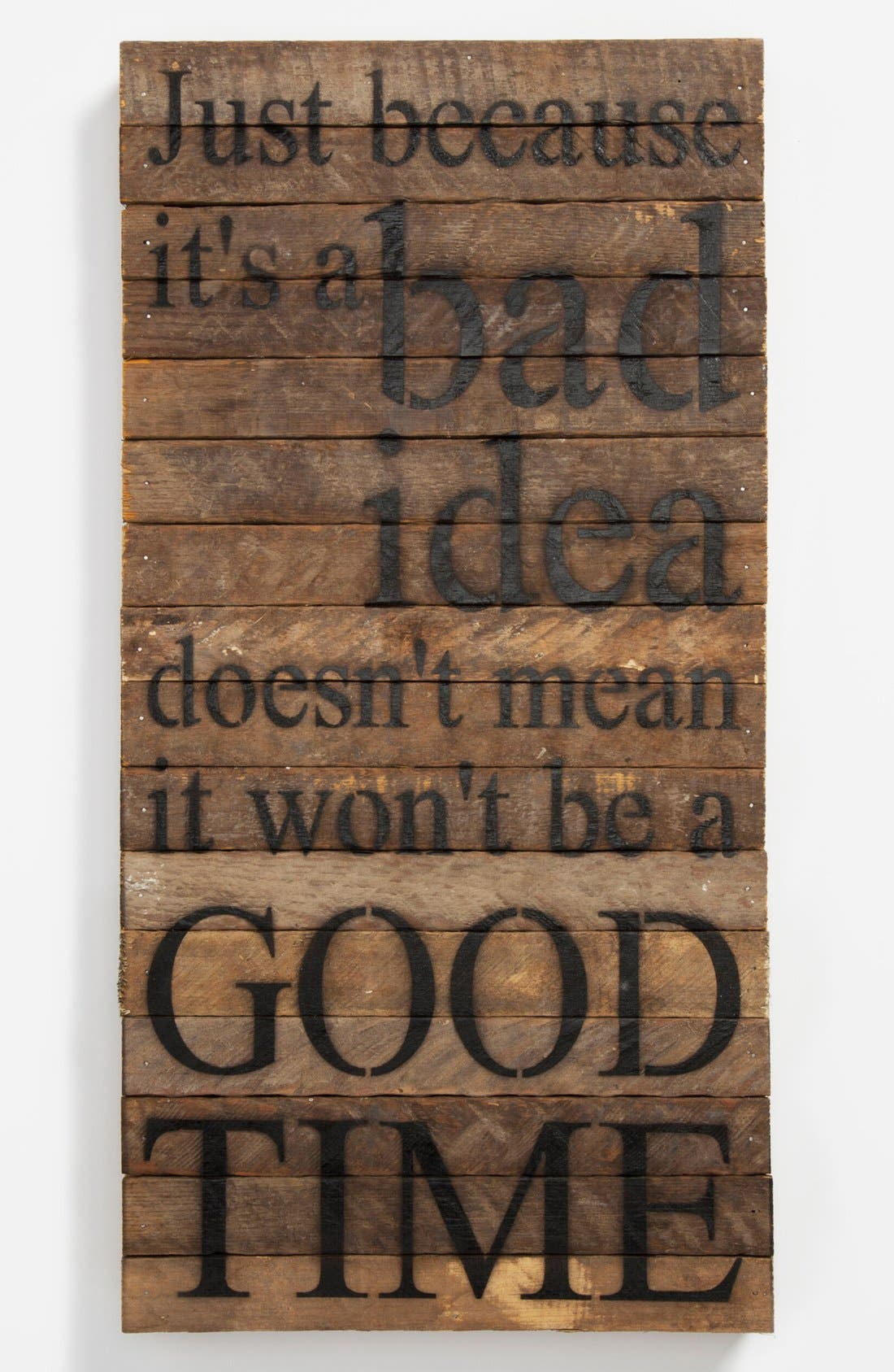 Alternate Image 1 Selected - 'Just Because It's a Bad Idea' Repurposed Wood Wall Art
