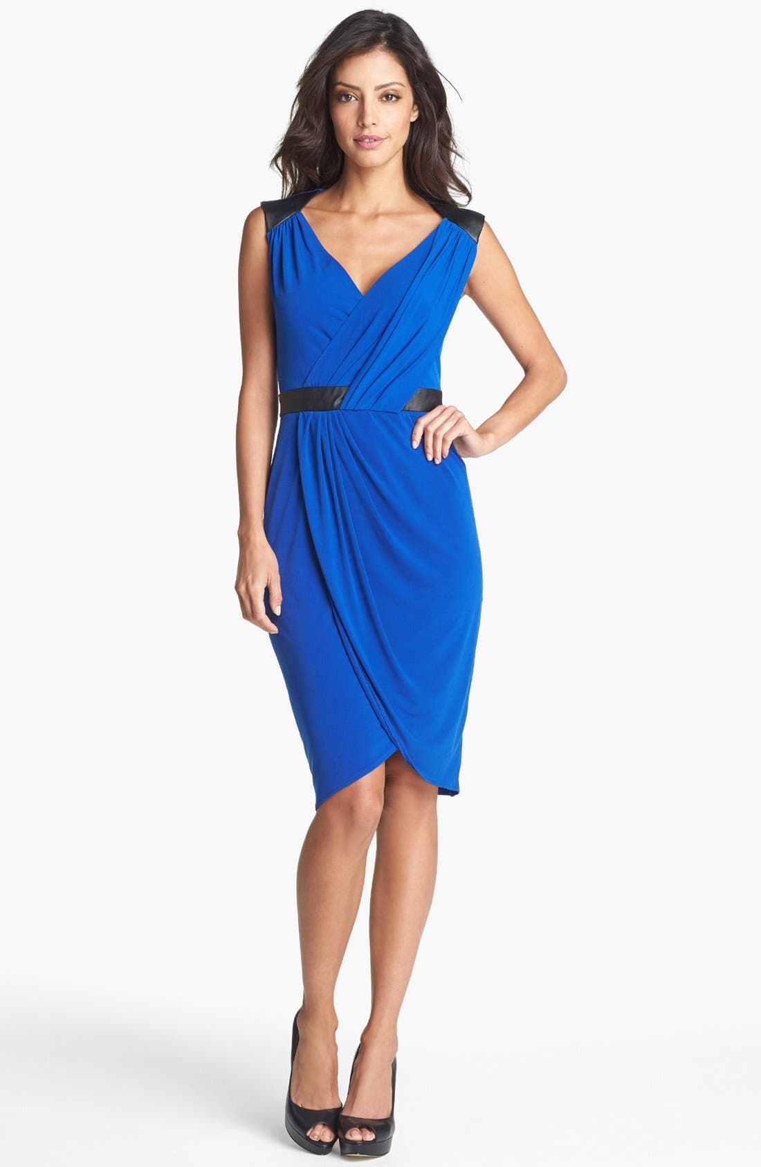 Main Image - Ivy & Blu Faux Leather Trim Dress