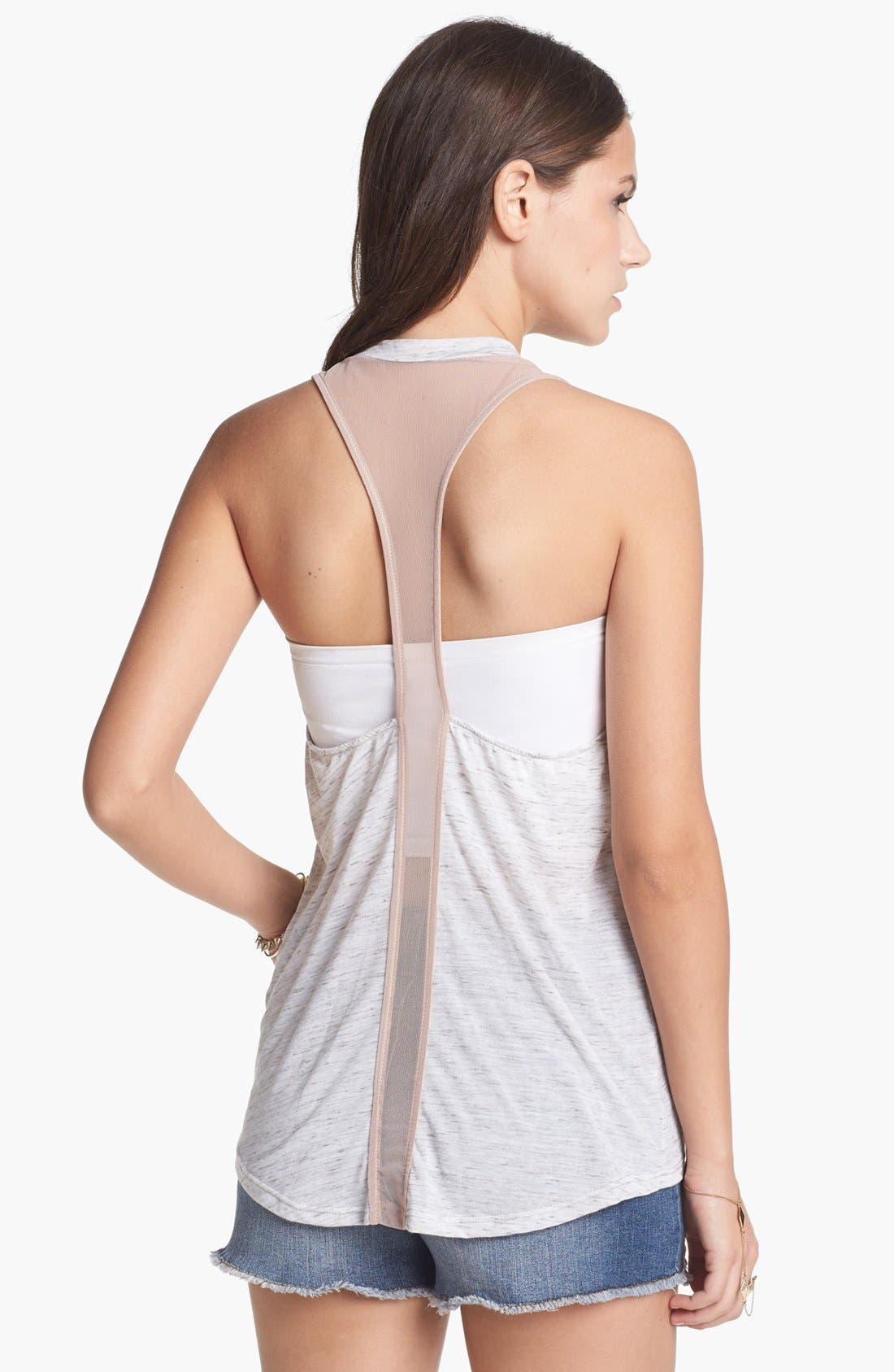 Alternate Image 2  - Lush Mesh Inset Racerback Muscle Tank (Juniors)