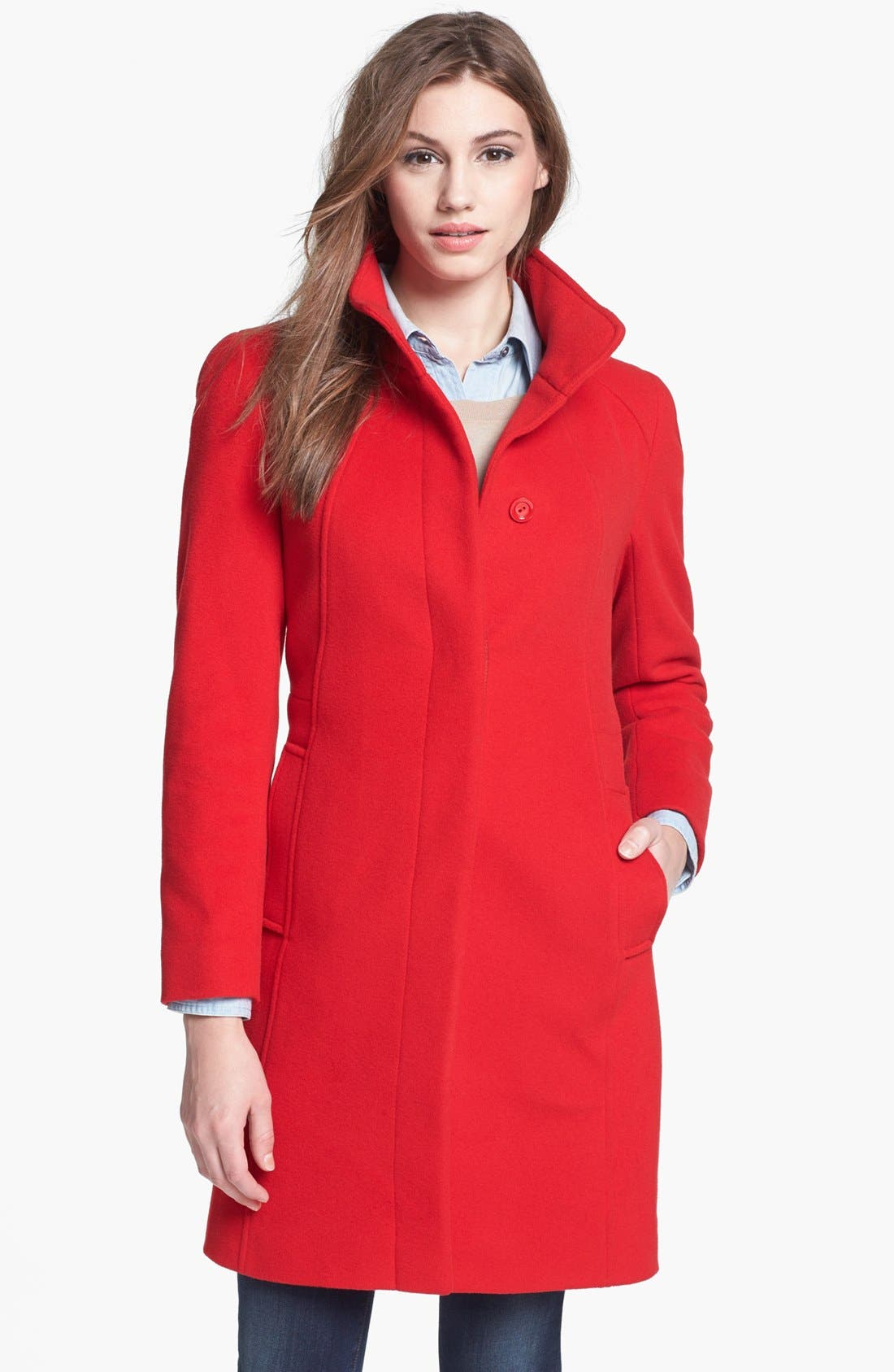 Main Image - Cinzia Rocca Due Stand Collar Wool & Cashmere Blend Walking Coat (Petite)