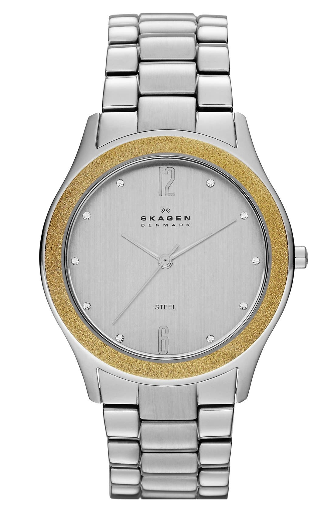 Main Image - Skagen Crystal Brushed Bezel Bracelet Watch, 38mm