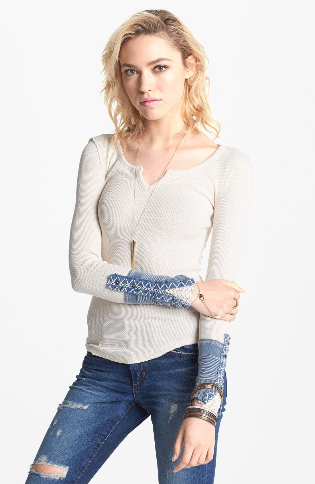 Alternate Image 1 Selected - Free People 'Kyoto' Embellished Cuff Tee