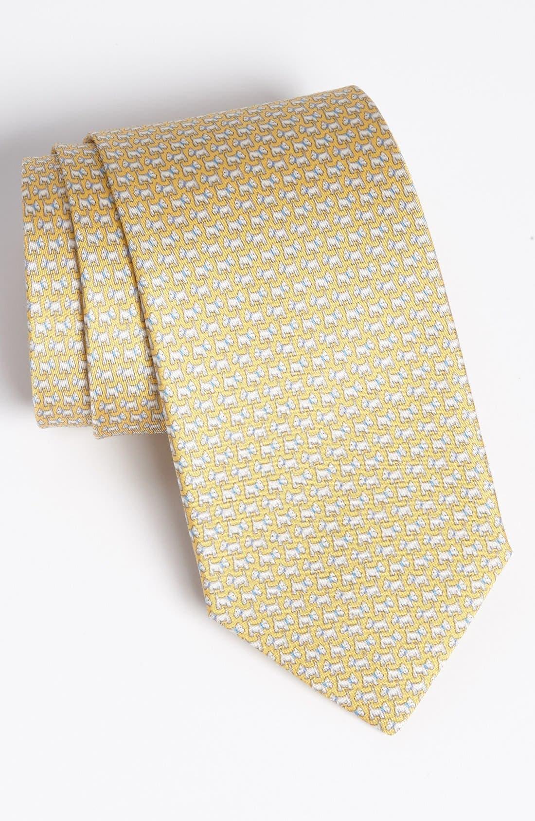 Main Image - Salvatore Ferragamo Dog Print Silk Tie