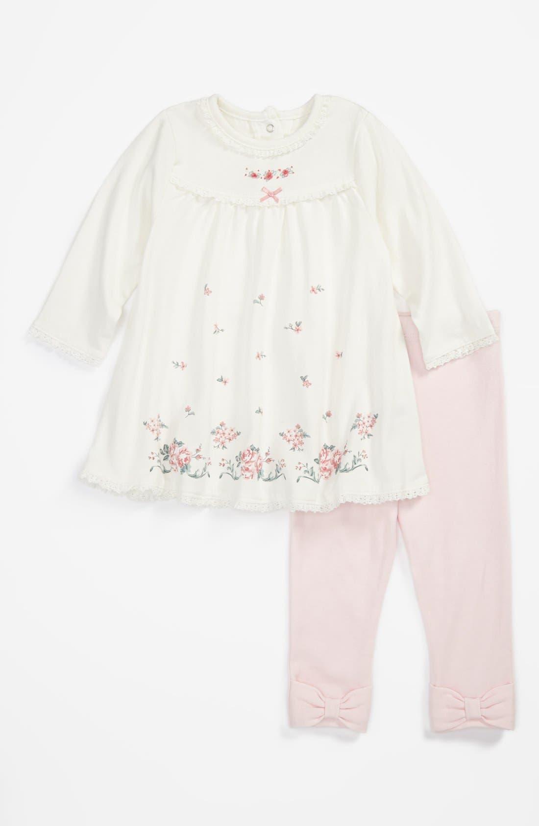 Alternate Image 1 Selected - Little Me Dress & Leggings (Baby Girls)