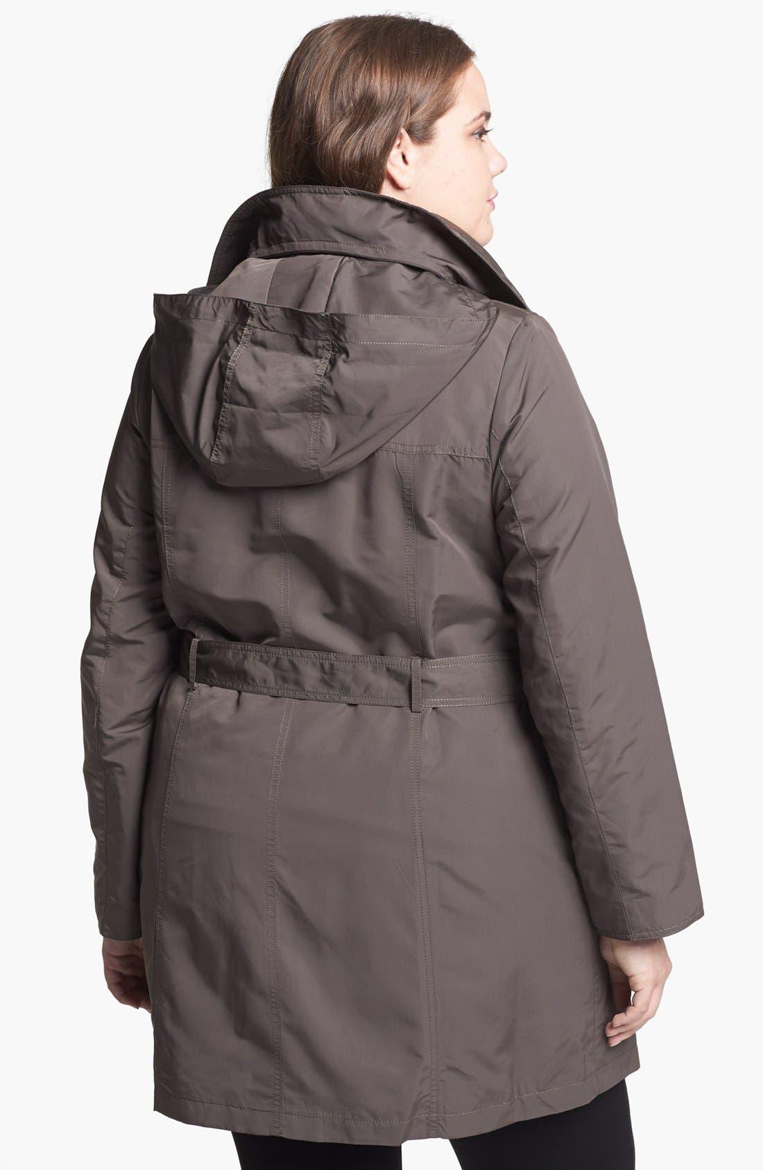Alternate Image 2  - Ellen Tracy Trench Coat with Hidden Hood (Plus Size)