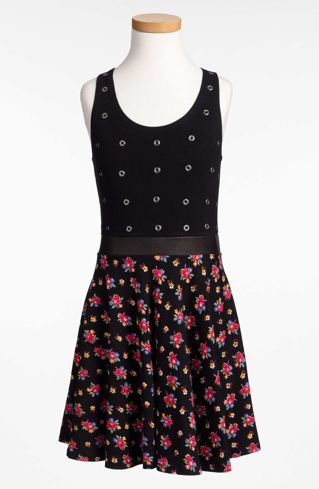 Alternate Image 1 Selected - Flowers by Zoe 'Grommets & Flowers' Dress (Big Girls)