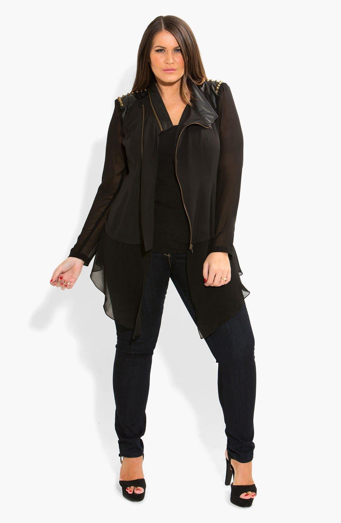 Alternate Image 3  - City Chic Studded Mixed Media Moto Jacket (Plus Size)