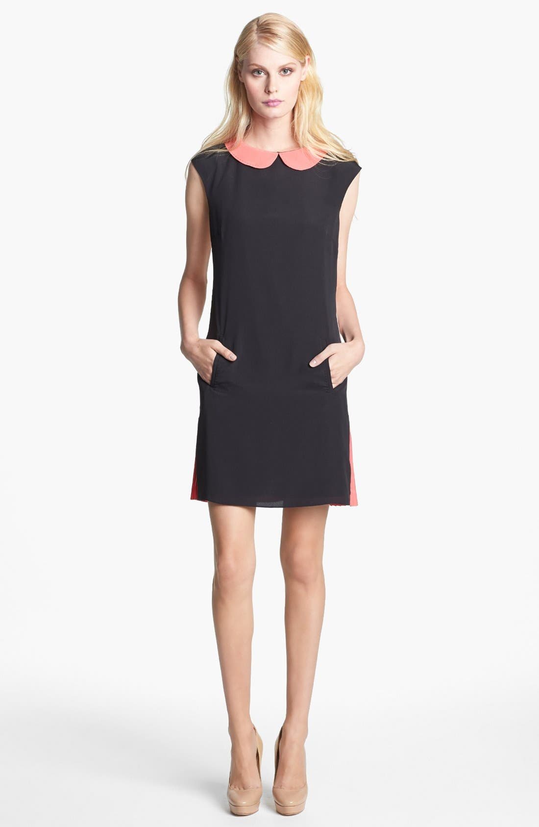 Main Image - Ted Baker London Colorblock Pleated Crepe Shift Dress