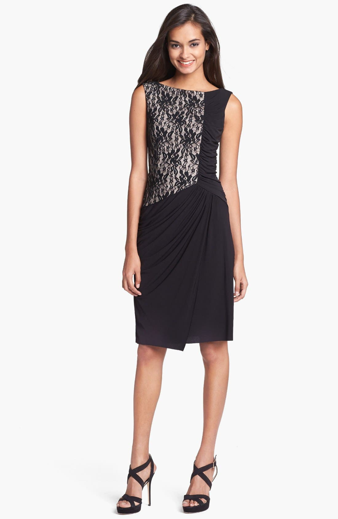 Alternate Image 1 Selected - Maggy London Lace & Ruched Jersey Dress