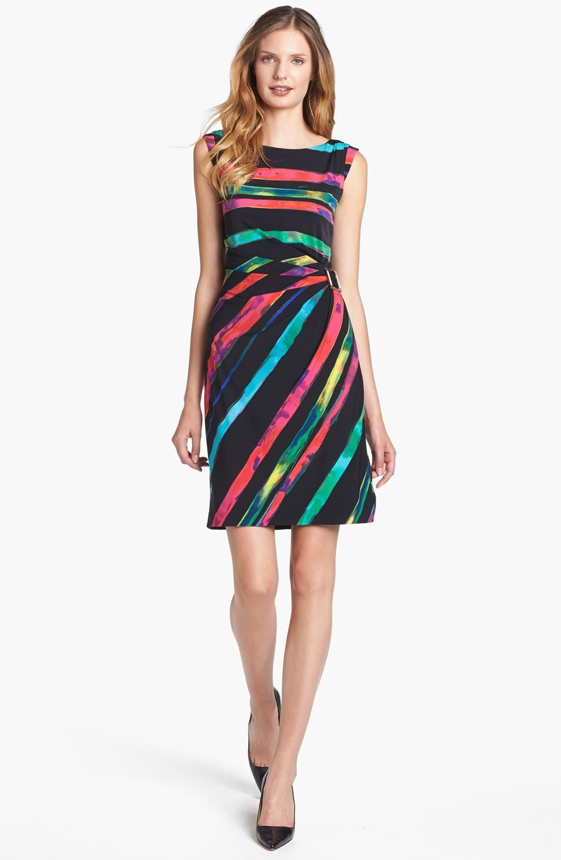 Alternate Image 1 Selected - Tahari Stripe Matte Jersey Sheath Dress