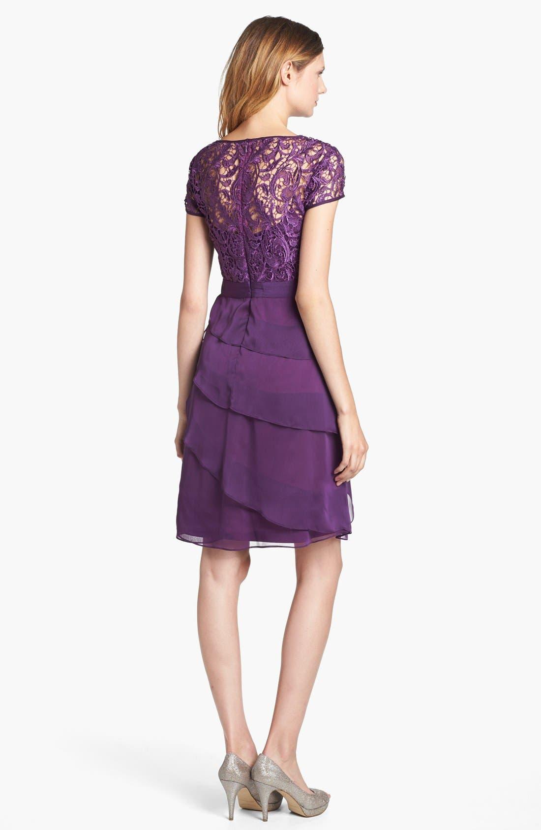 Alternate Image 2  - Adrianna Papell Lace & Tiered Chiffon Dress (Regular & Petite)