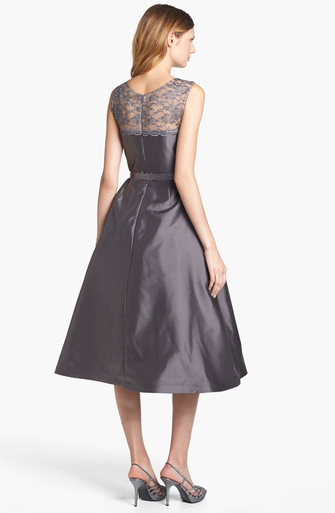 Alternate Image 2  - Alex Evenings Illusion Yoke Satin Fit & Flare Dress