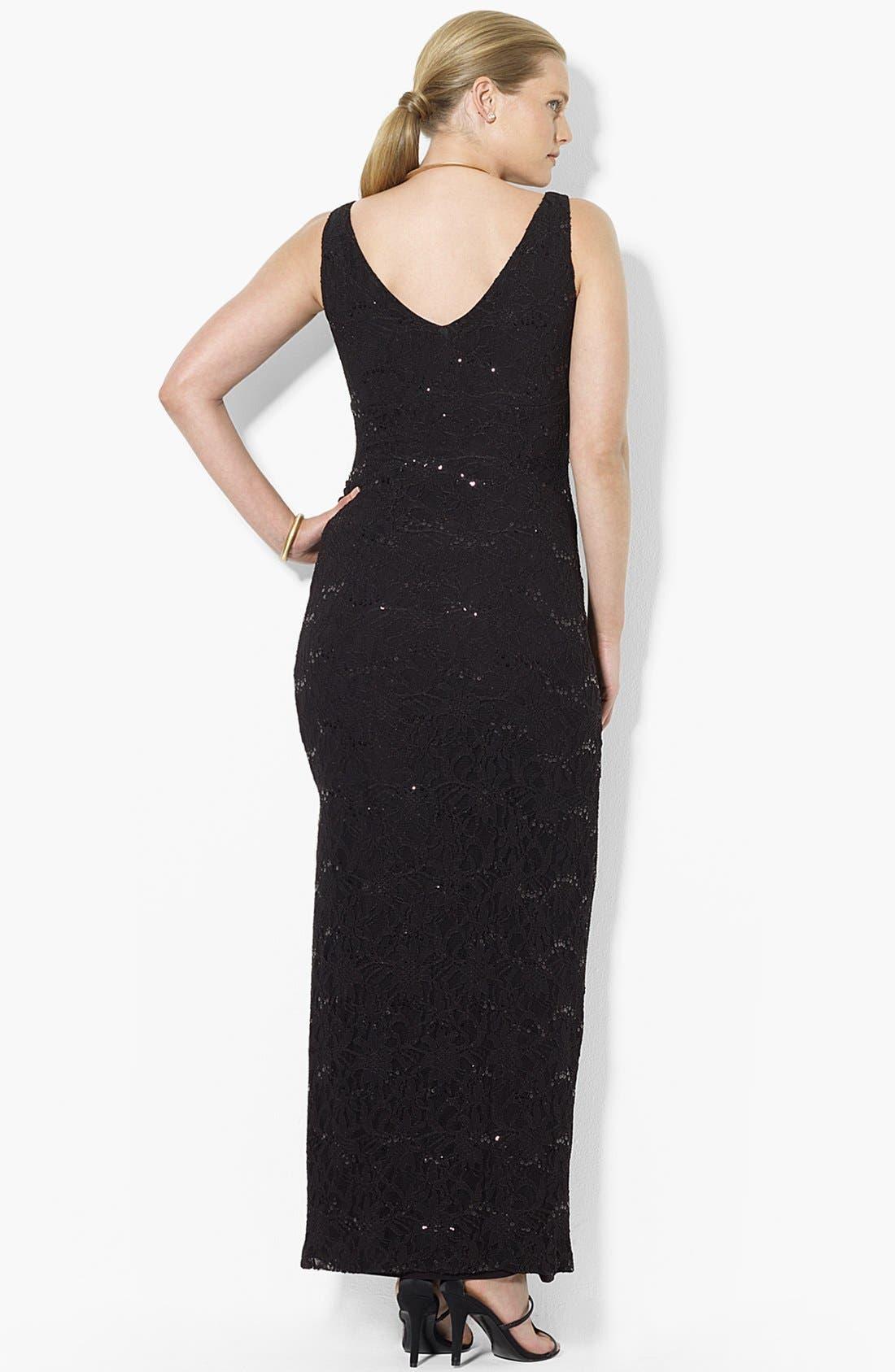 Alternate Image 2  - Lauren Ralph Lauren Sequin Lace Column Gown (Plus Size)