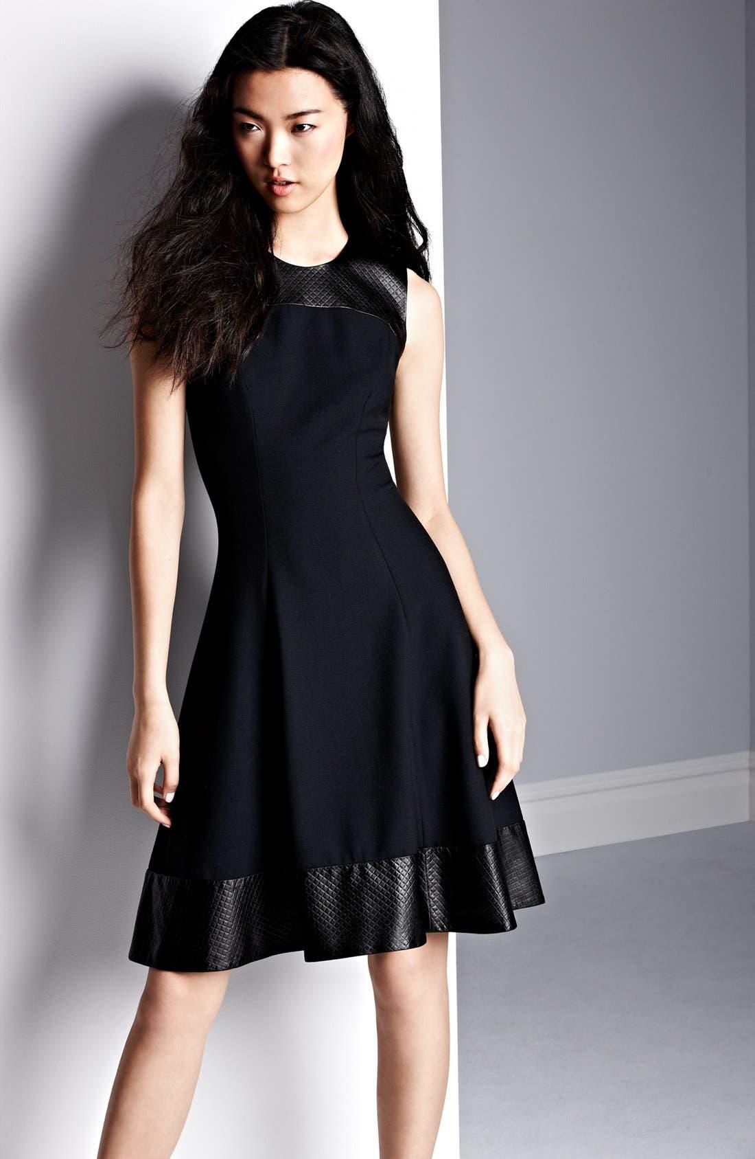 Alternate Image 4  - L'AGENCE Embossed Leather Trim Ponte Knit Dress
