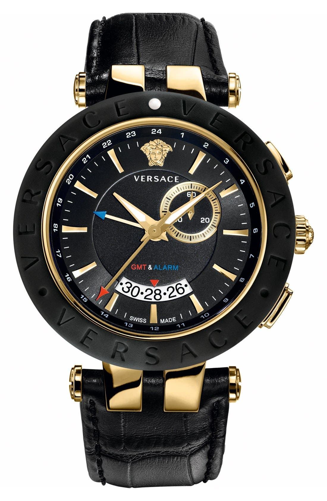 Main Image - Versace 'V-Race GMT' Leather Strap Watch, 46mm