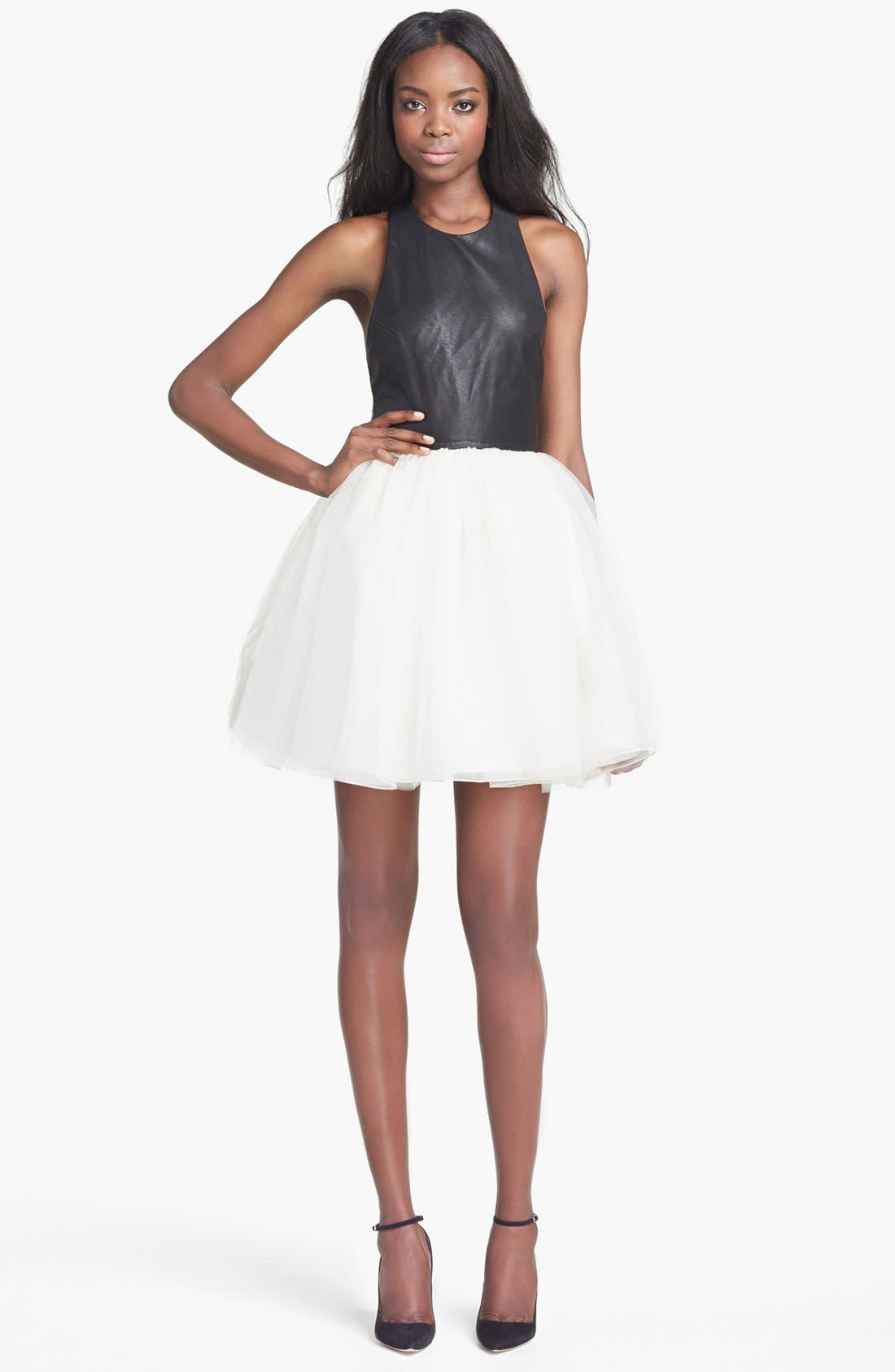 Main Image - Alice + Olivia 'Ginnifer' Leather Bodice Party Dress