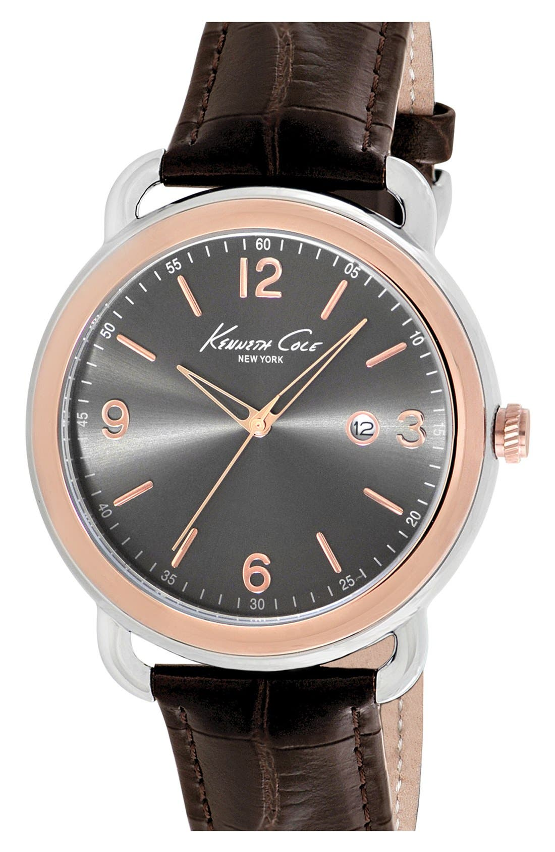 Alternate Image 1 Selected - Kenneth Cole New York Round Leather Strap Watch, 43mm