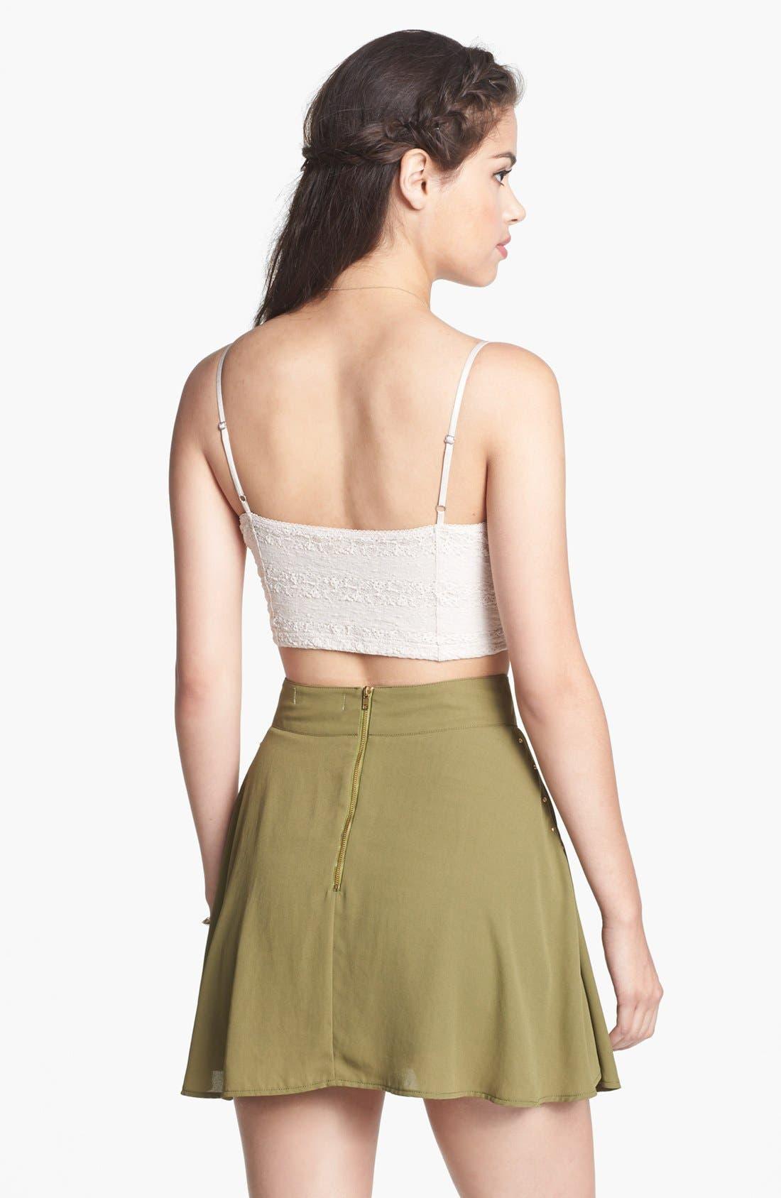 Alternate Image 2  - Blu Pepper High Waist Stud Detail Skater Skirt (Juniors) (Online Only)