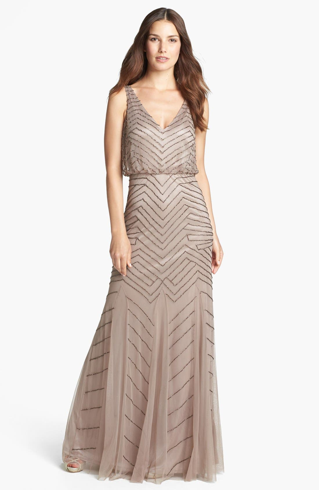 Alternate Image 1 Selected - Adrianna Papell Beaded Mesh Gown (Regular & Petite)