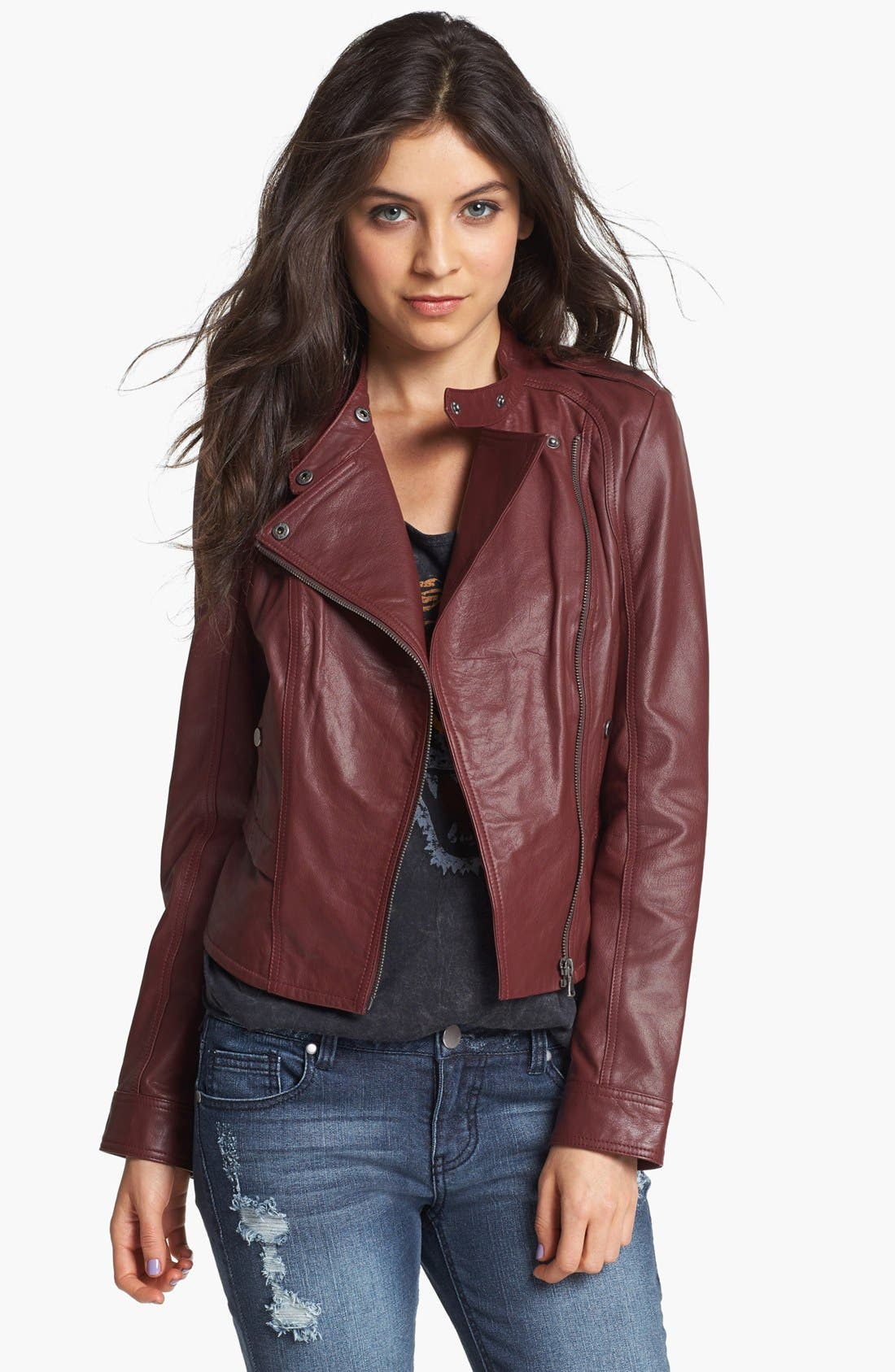 Alternate Image 1 Selected - Collection B Leather Moto Jacket (Juniors)