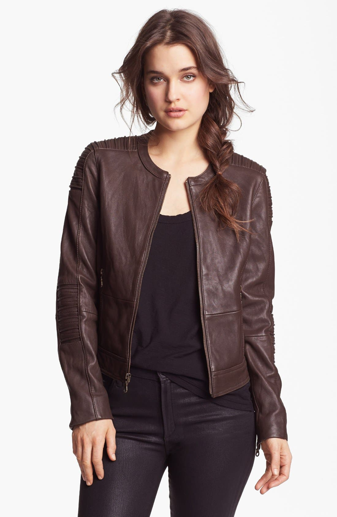 Main Image - DKNY Collarless Leather Jacket