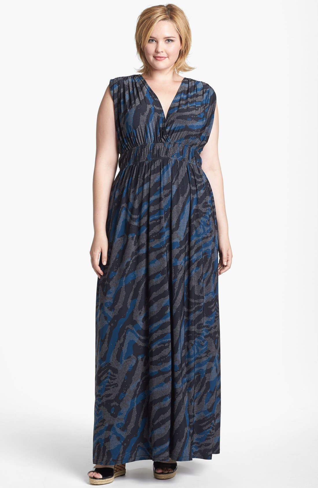 Alternate Image 1 Selected - Viereck 'Rochelle' Matte Jersey Maxi Dress (Plus Size)