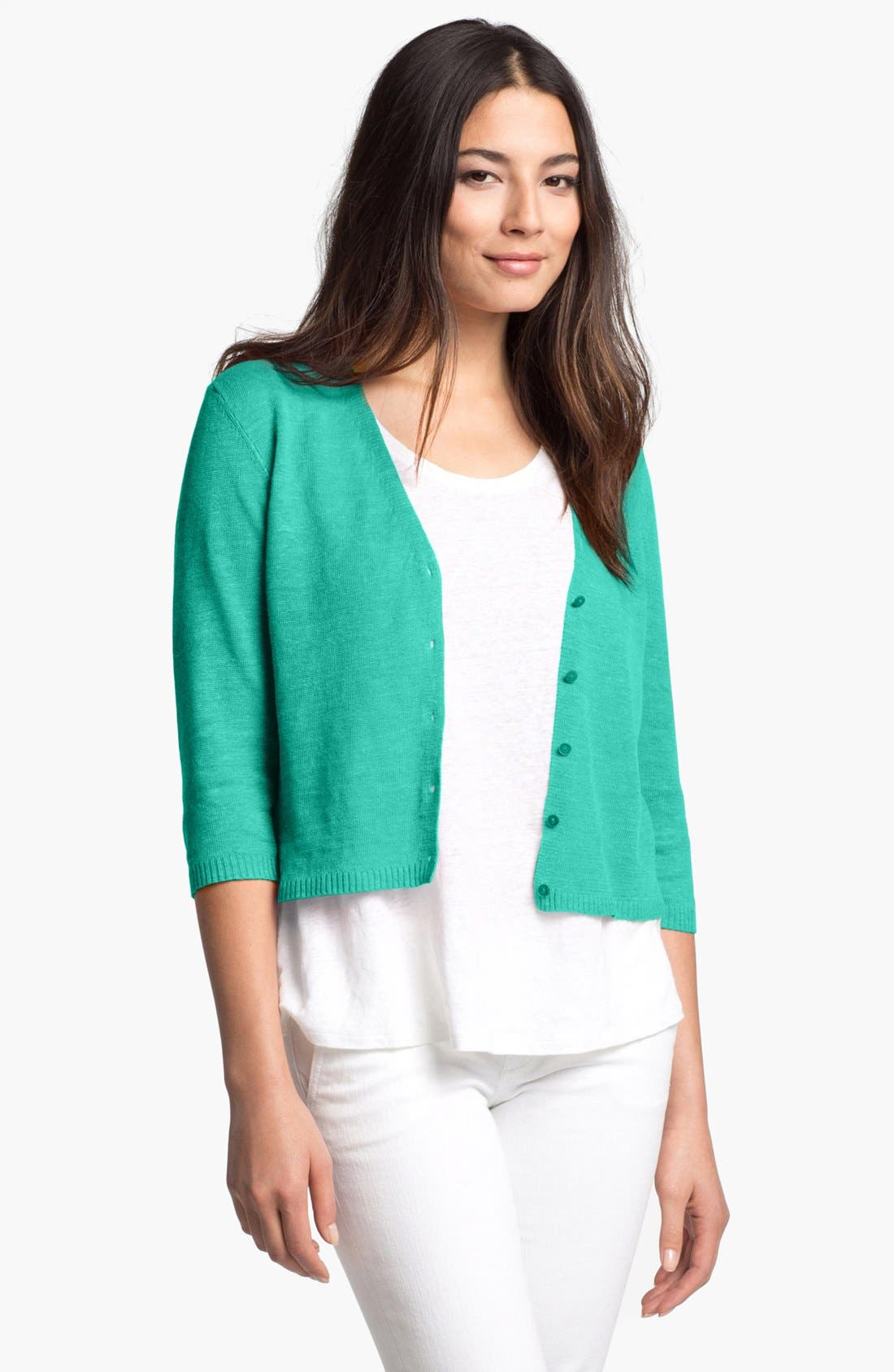 Alternate Image 1 Selected - Eileen Fisher Crop V-Neck Cardigan (Petite)