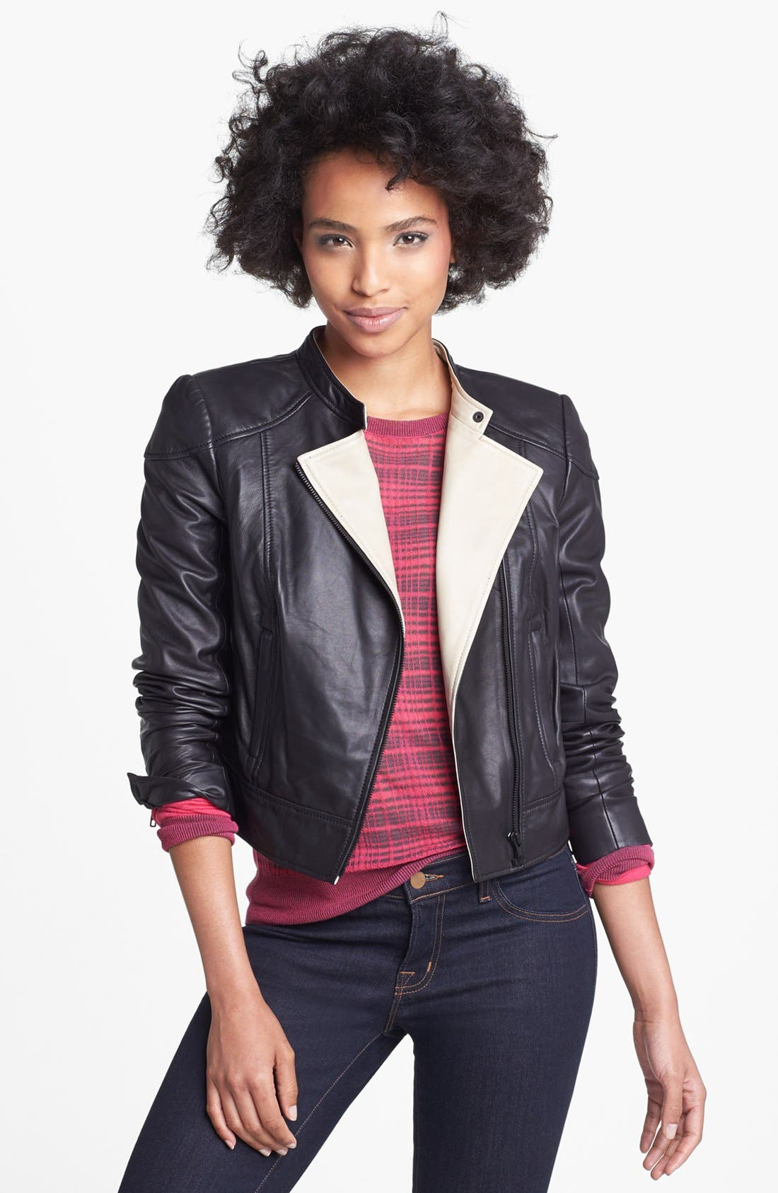 Alternate Image 1 Selected - Halogen® Asymmetrical Two-Tone Leather Jacket
