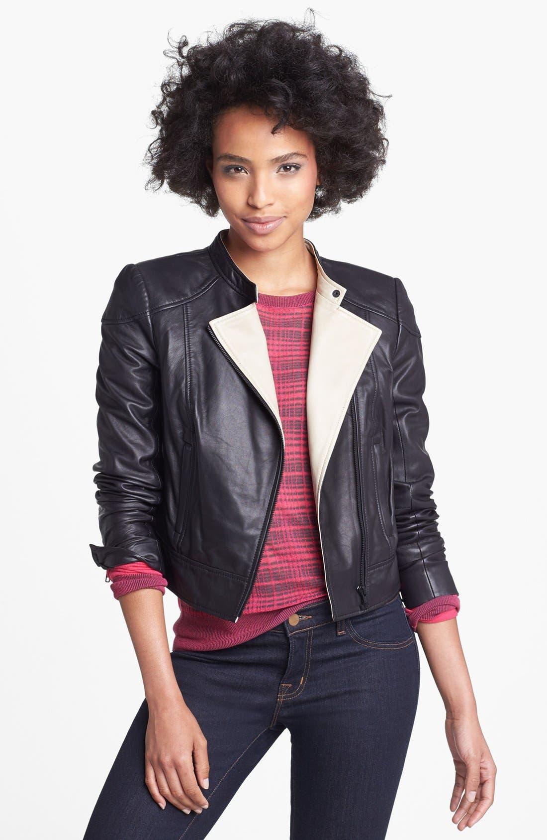 Main Image - Halogen® Asymmetrical Two-Tone Leather Jacket