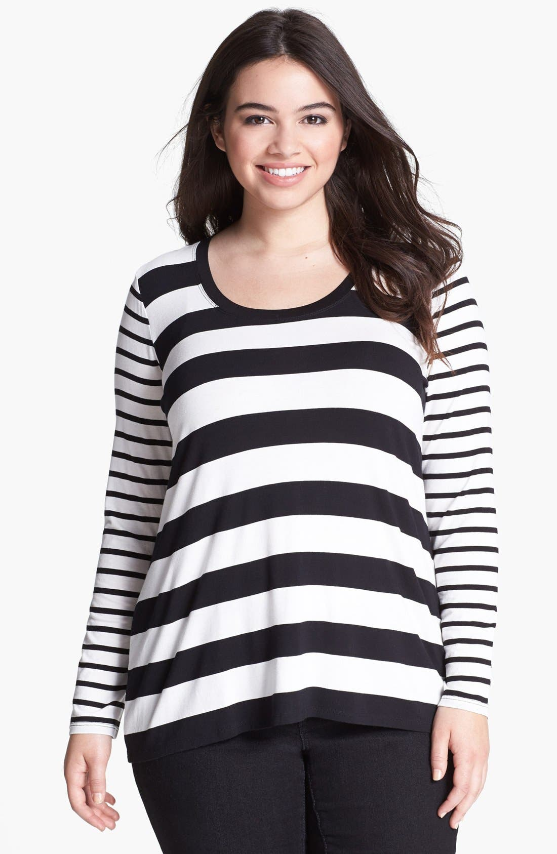 Alternate Image 1 Selected - Two by Vince Camuto Mix Stripe Tee (Plus Size)