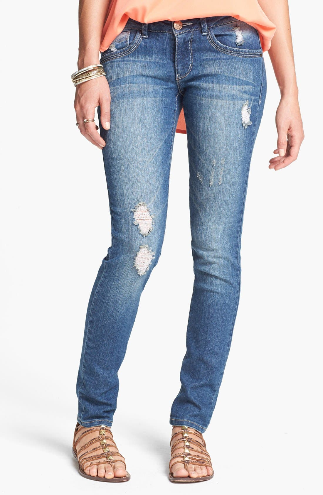 Alternate Image 1  - Jolt Western Pocket Destroyed Skinny Jeans (Medium) (Online Only)