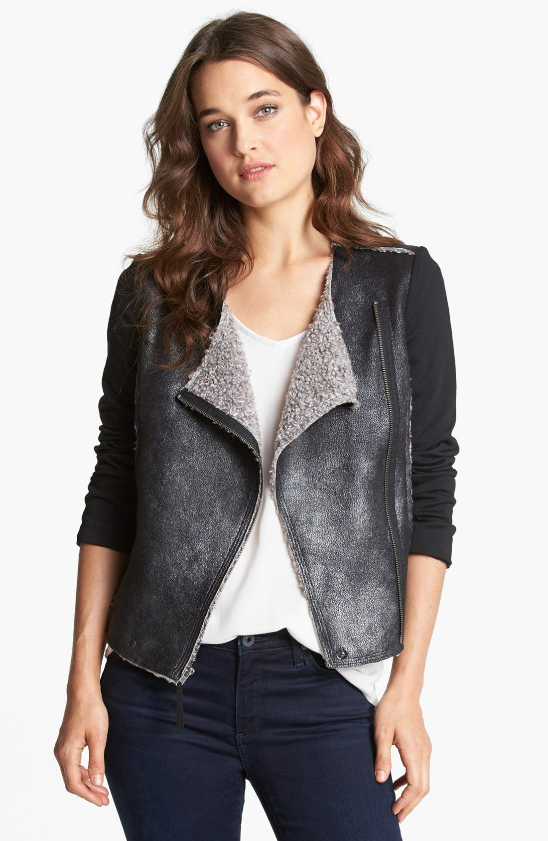 Alternate Image 1 Selected - Ella Moss Faux Shearling Moto Jacket