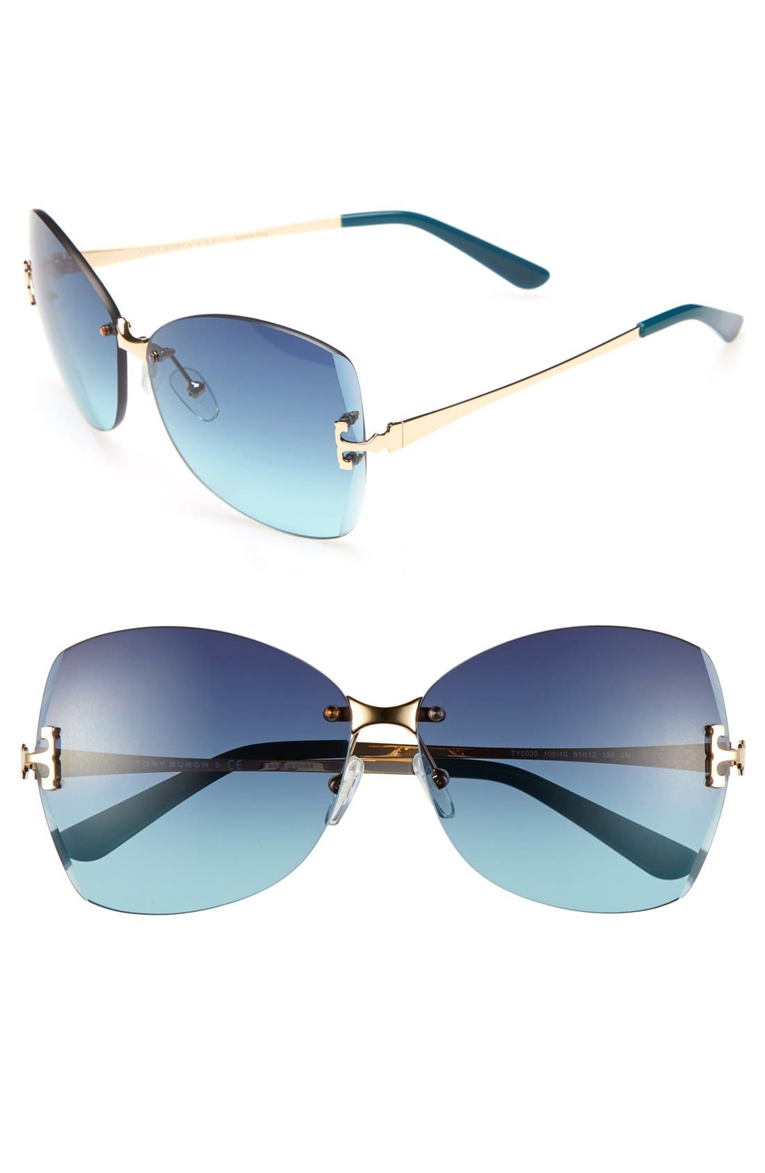 Main Image - Tory Burch 61mm Rimless Sunglasses