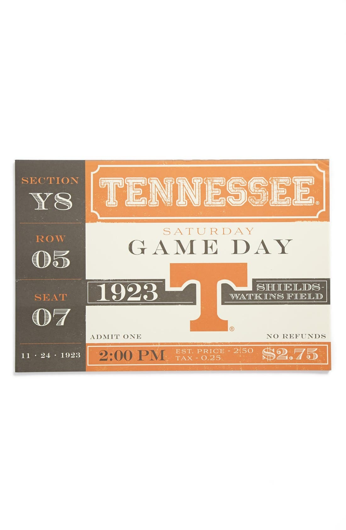 Main Image - Kitchen Papers by Cake 'Vintage Ticket - Tennessee Volunteers' Paper Placemat Pad