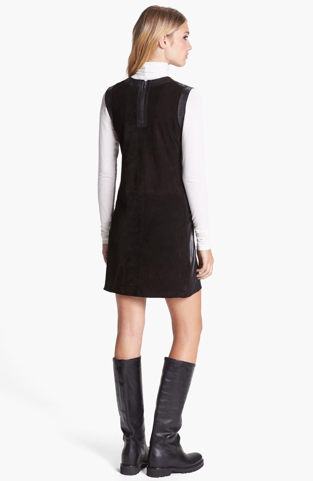 Alternate Image 2  - Vince Leather Framed Suede Dress