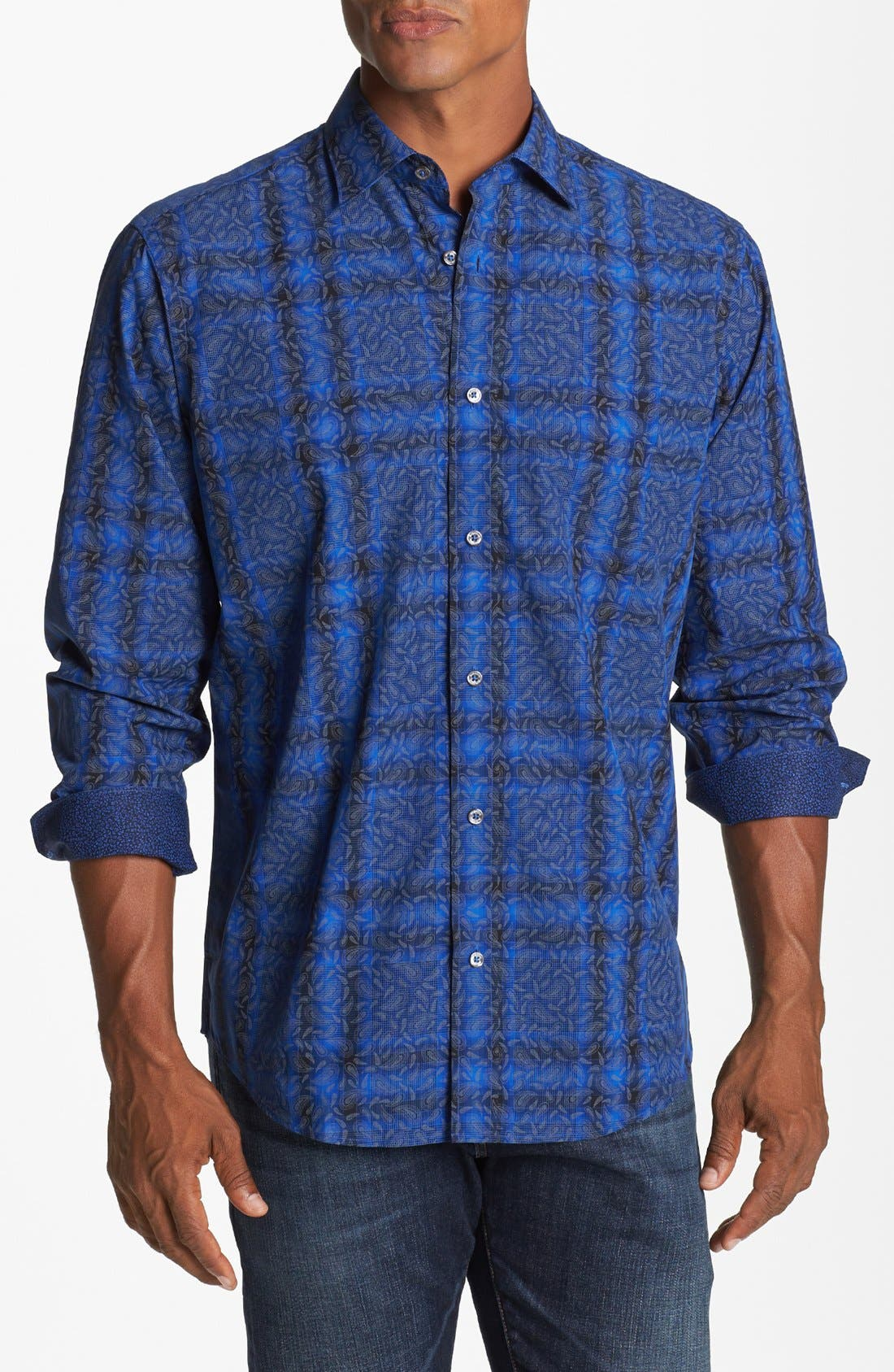 Alternate Image 1 Selected - Bugatchi Paisley Check Classic Fit Cotton Sport Shirt (Tall)