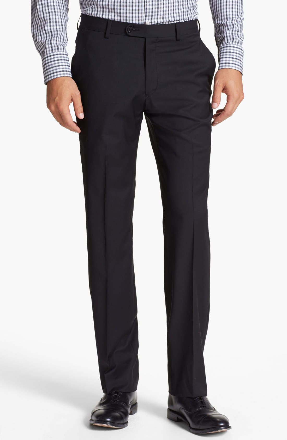 Alternate Image 1 Selected - John Varvatos Star USA 'Astor' Flat Front Wool Trousers