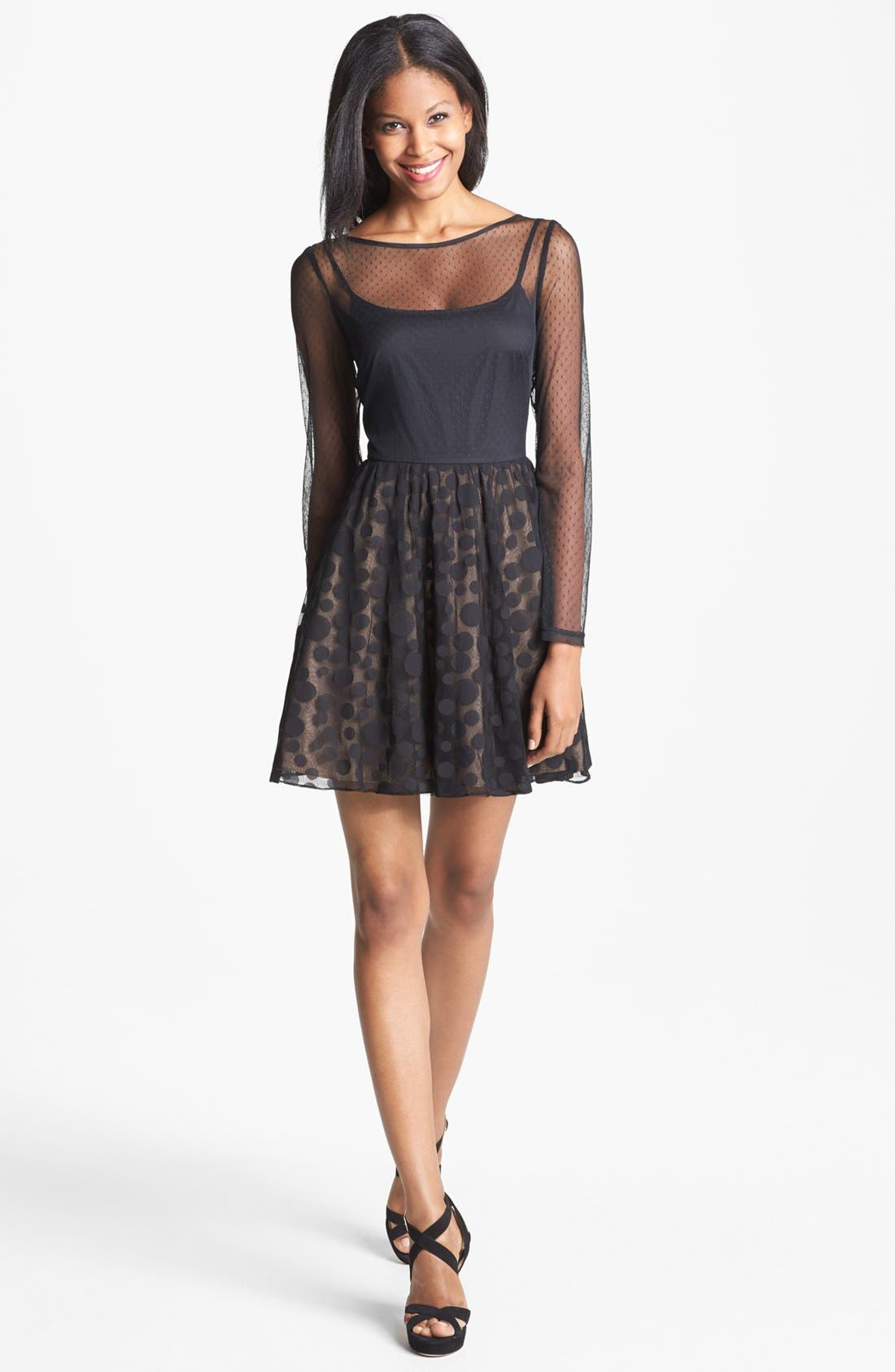 Main Image - Aidan Mattox Illusion Dot Fit & Flare Dress (Online Only)