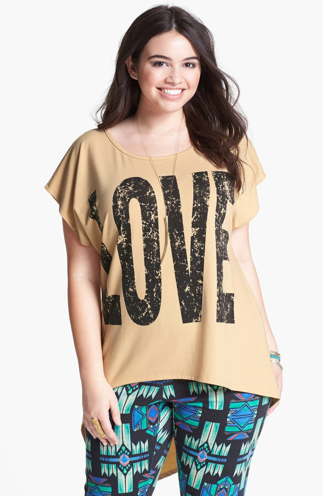 Alternate Image 1 Selected - Lily White 'Love' Graphic High/Low Tee (Juniors Plus)