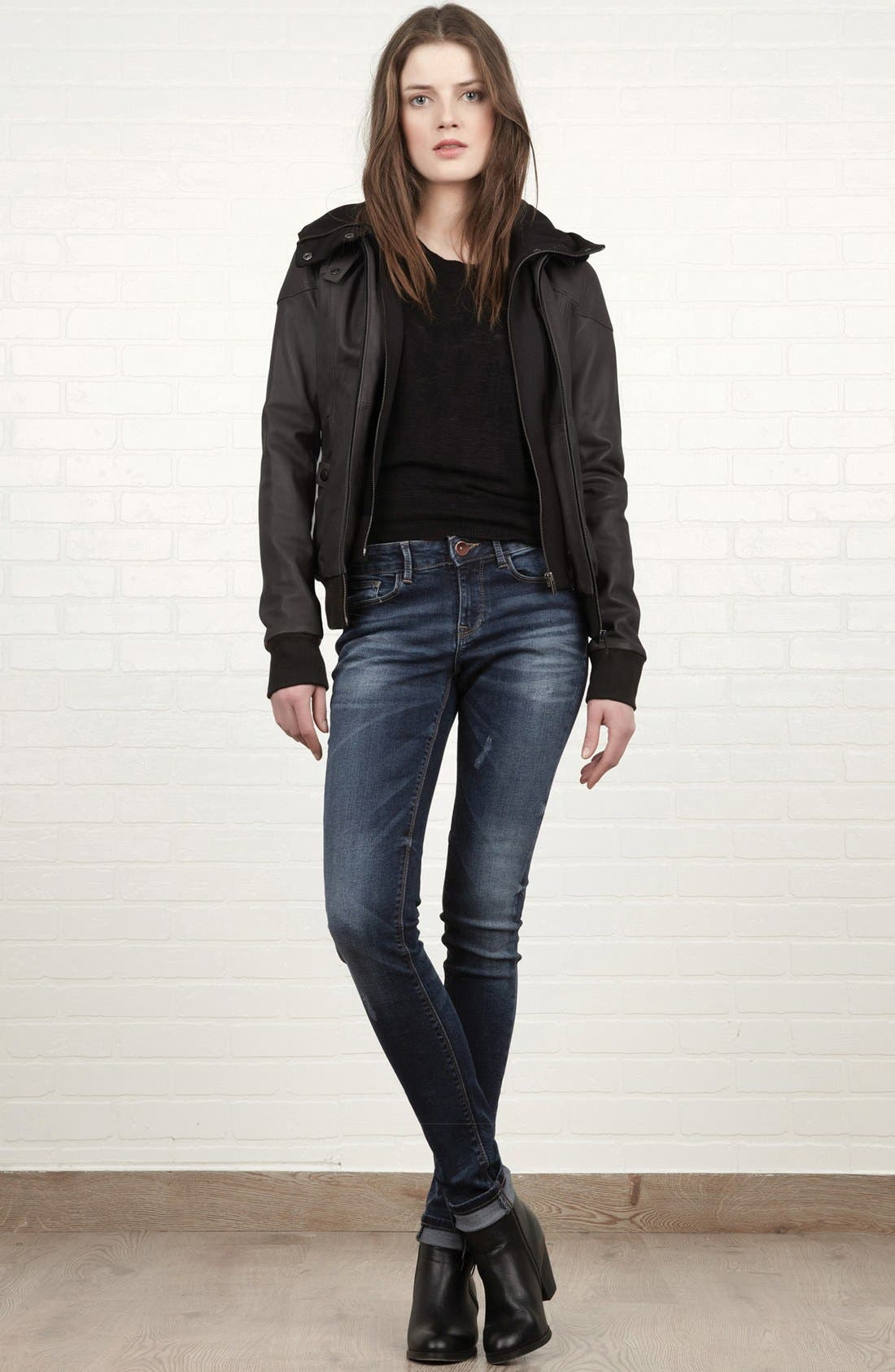 Alternate Image 4  - Soia & Kyo Leather Jacket with Removable Hoodie Liner