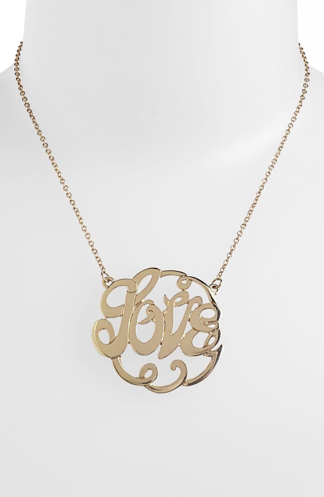 Alternate Image 1 Selected - Stephan & Co. 'Love' Script Pendant Necklace (Juniors) (Online Only)