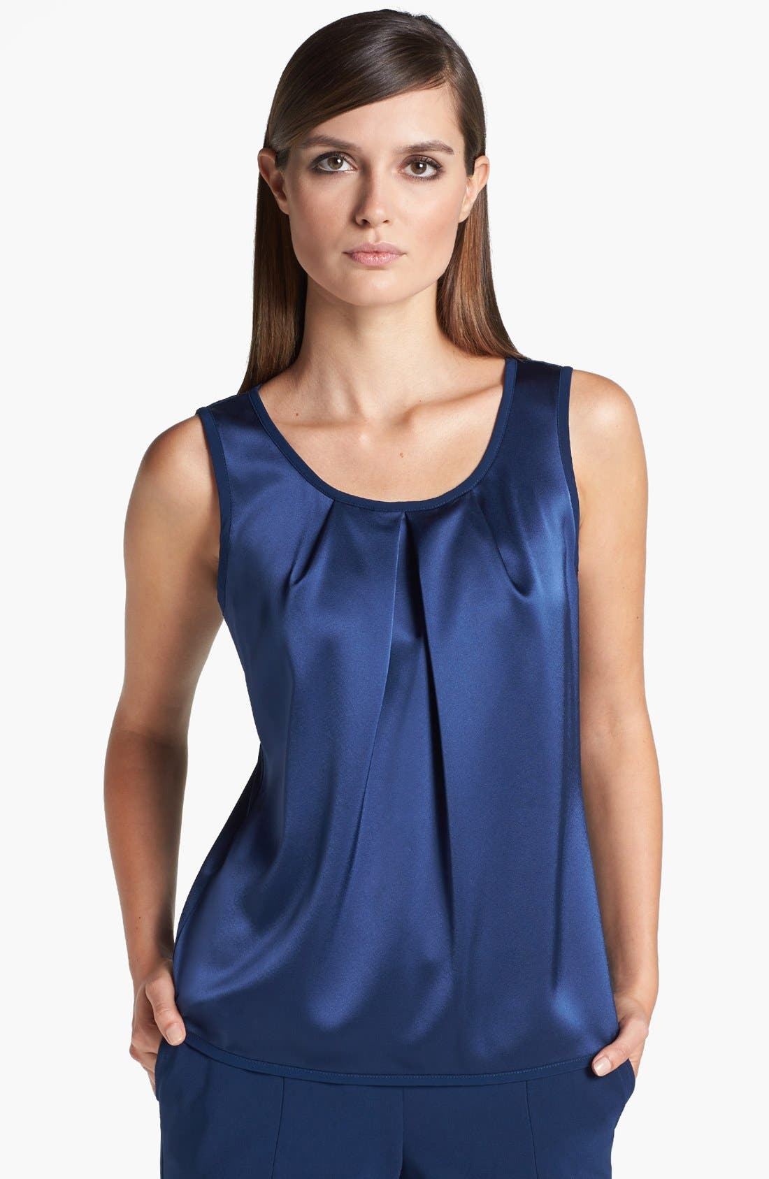 Main Image - St. John Collection Scoop Neck Pleated Liquid Satin Shell
