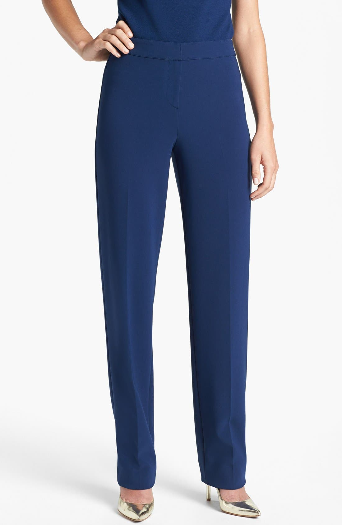 Alternate Image 1 Selected - St. John Collection 'Diana' Straight Leg Crepe Marocain Pants