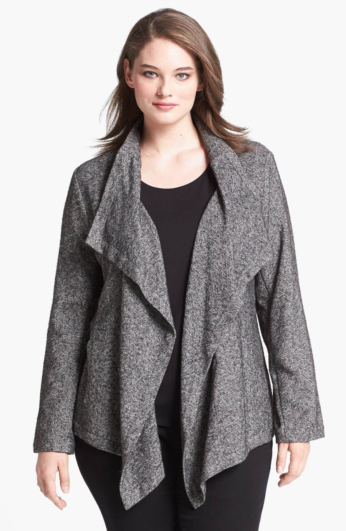 Alternate Image 1 Selected - Eileen Fisher Cascade Front Cardigan (Plus Size)
