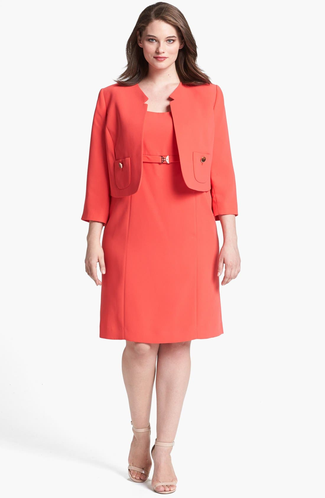 Alternate Image 1 Selected - Tahari Sheath Dress & Jacket (Plus Size)