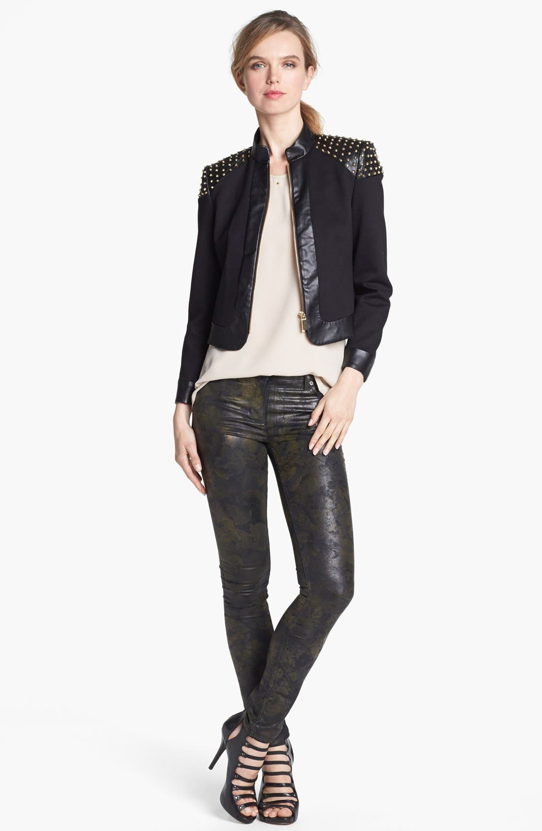 Alternate Image 1 Selected - Vince Camuto Studded Faux Leather Trim Jacket