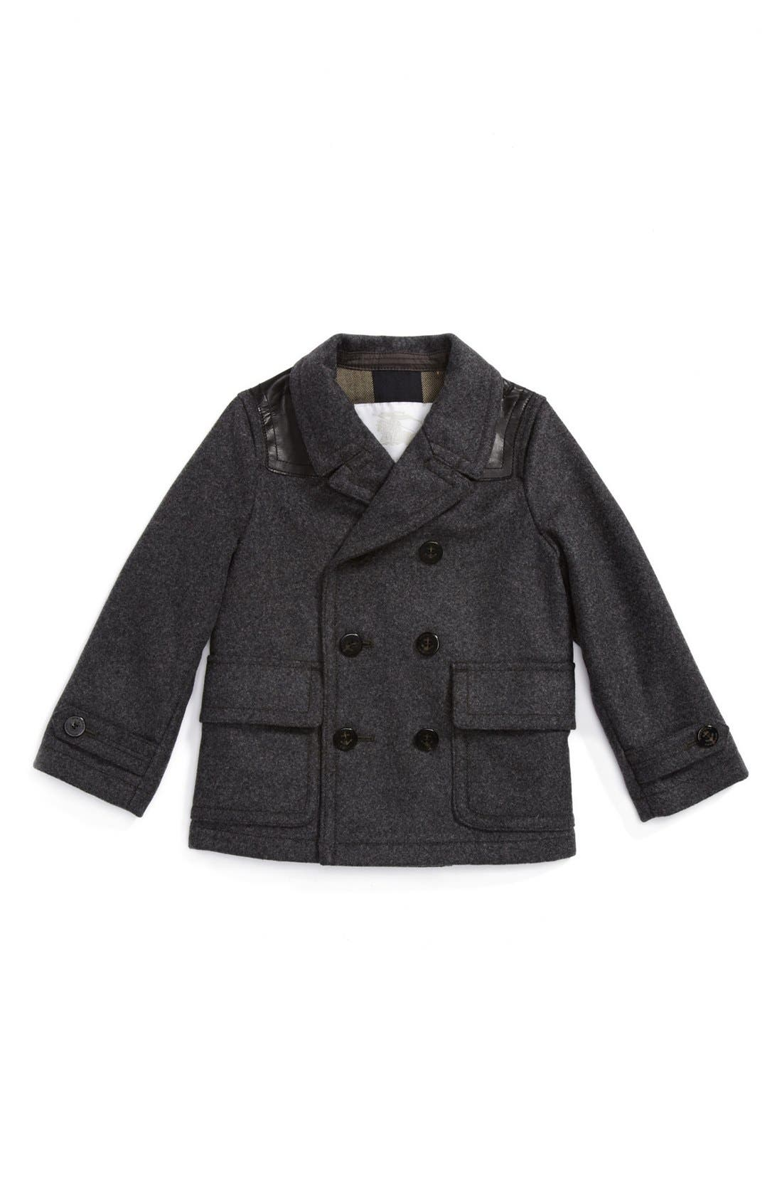 Alternate Image 1 Selected - Burberry Wool Peacoat (Baby Boys)