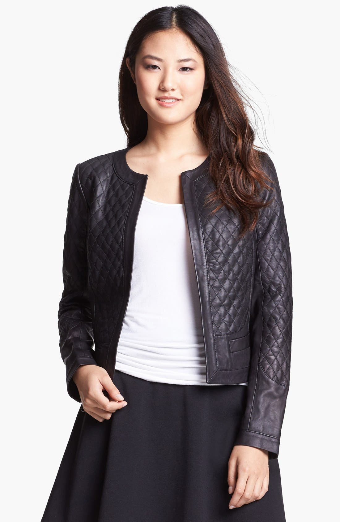 Main Image - Halogen® Quilted Leather Jacket (Regular & Petite)